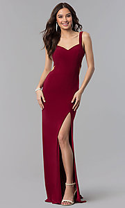 Image of long open-back v-neck Alyce prom dress. Style: AL-60000 Detail Image 2