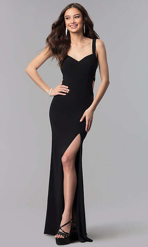 Image of long open-back v-neck Alyce prom dress. Style: AL-60000 Back Image