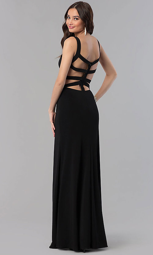 Image of long open-back v-neck Alyce prom dress. Style: AL-60000 Front Image