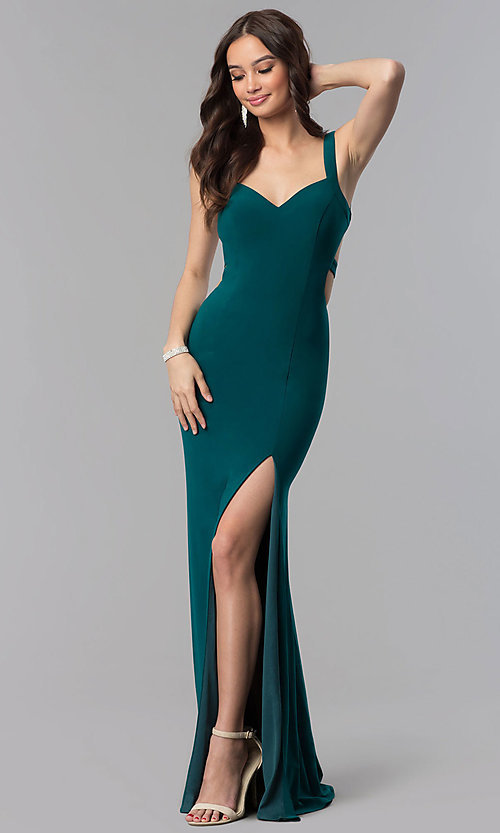 Image of long open-back v-neck Alyce prom dress. Style: AL-60000 Detail Image 3