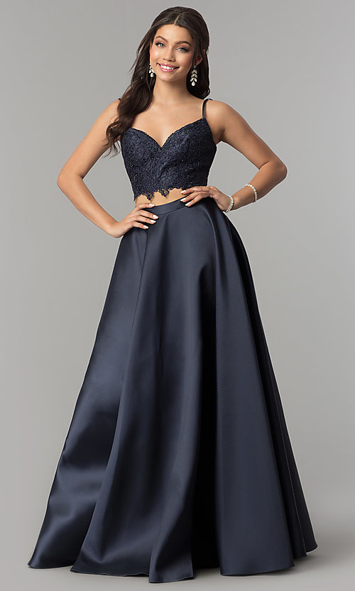 Image of v-neck long two-piece lace-top prom dress by Alyce. Style: AL-60056 Front Image