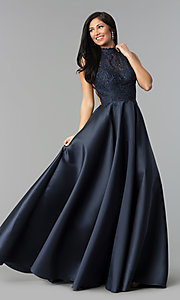 Image of long open-back Alyce prom dress with high neck. Style: AL-60060 Detail Image 1