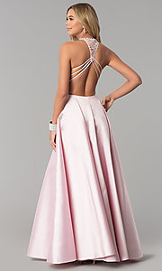 Image of long open-back Alyce prom dress with high neck. Style: AL-60060 Back Image