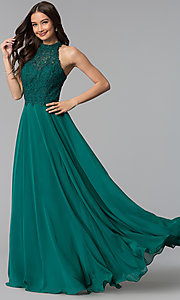 Image of long chiffon prom dress with lace open-back bodice. Style: AL-60061 Detail Image 3