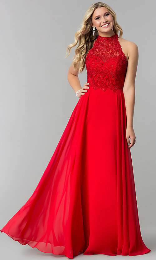 Image of long chiffon prom dress with lace open-back bodice. Style: AL-60061 Detail Image 1