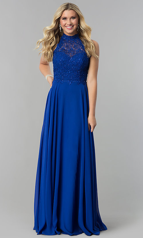 Image of long chiffon prom dress with lace open-back bodice. Style: AL-60061 Front Image