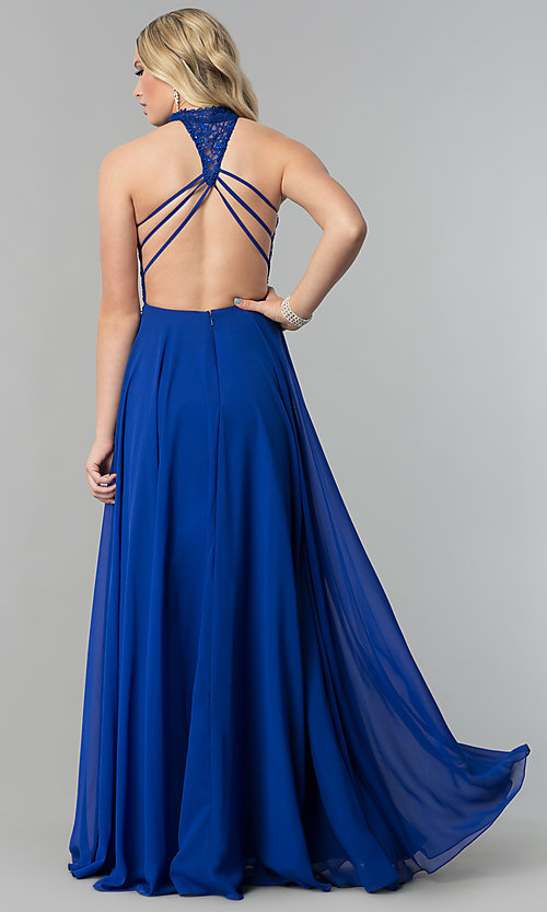Image of long chiffon prom dress with lace open-back bodice. Style: AL-60061 Back Image
