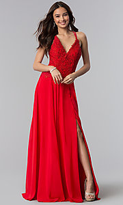 Image of v-neck long prom dress with beading and embroidery. Style: AL-60062 Detail Image 1