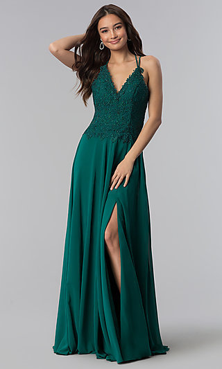 e786d58792b V-Neck Long Prom Dress with Beading and Embroidery