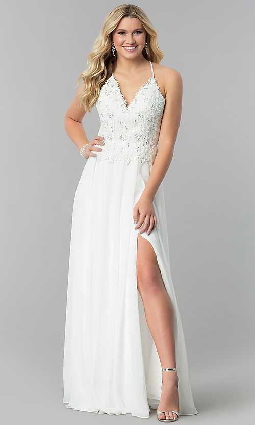 Image of v-neck long prom dress with beading and embroidery. Style: AL-60062 Detail Image 3
