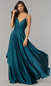 Image of long v-neck satin prom dress with open v-back. Style: AL-60091 Detail Image 2