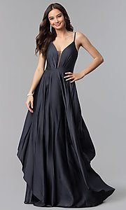 Image of long v-neck satin prom dress with open v-back. Style: AL-60091 Detail Image 3