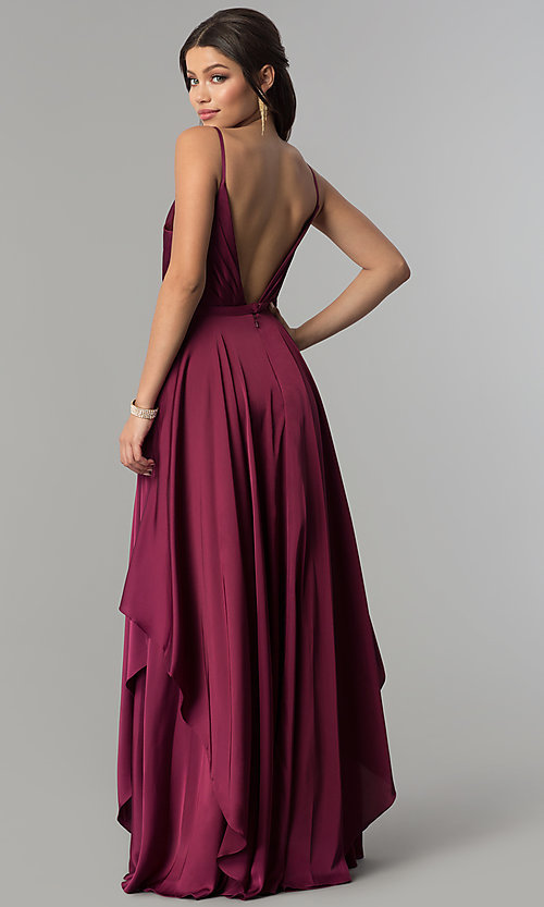 Image of long v-neck satin prom dress with open v-back. Style: AL-60091 Back Image