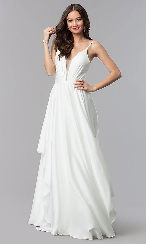 Image of long v-neck satin prom dress with open v-back. Style: AL-60091 Front Image