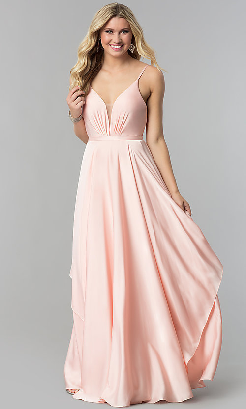 Image of long v-neck satin prom dress with open v-back. Style: AL-60091 Detail Image 1