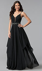 Image of long ruched v-neck chiffon prom dress with jewels. Style: AL-60092 Detail Image 2