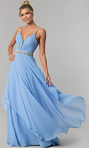 Image of long ruched v-neck chiffon prom dress with jewels. Style: AL-60092 Front Image