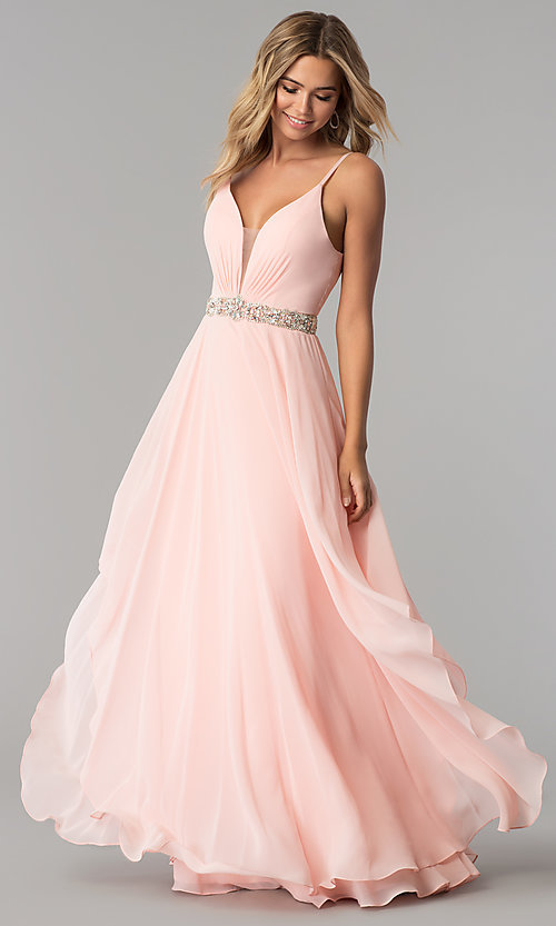 Image of long ruched v-neck chiffon prom dress with jewels. Style: AL-60092 Detail Image 1