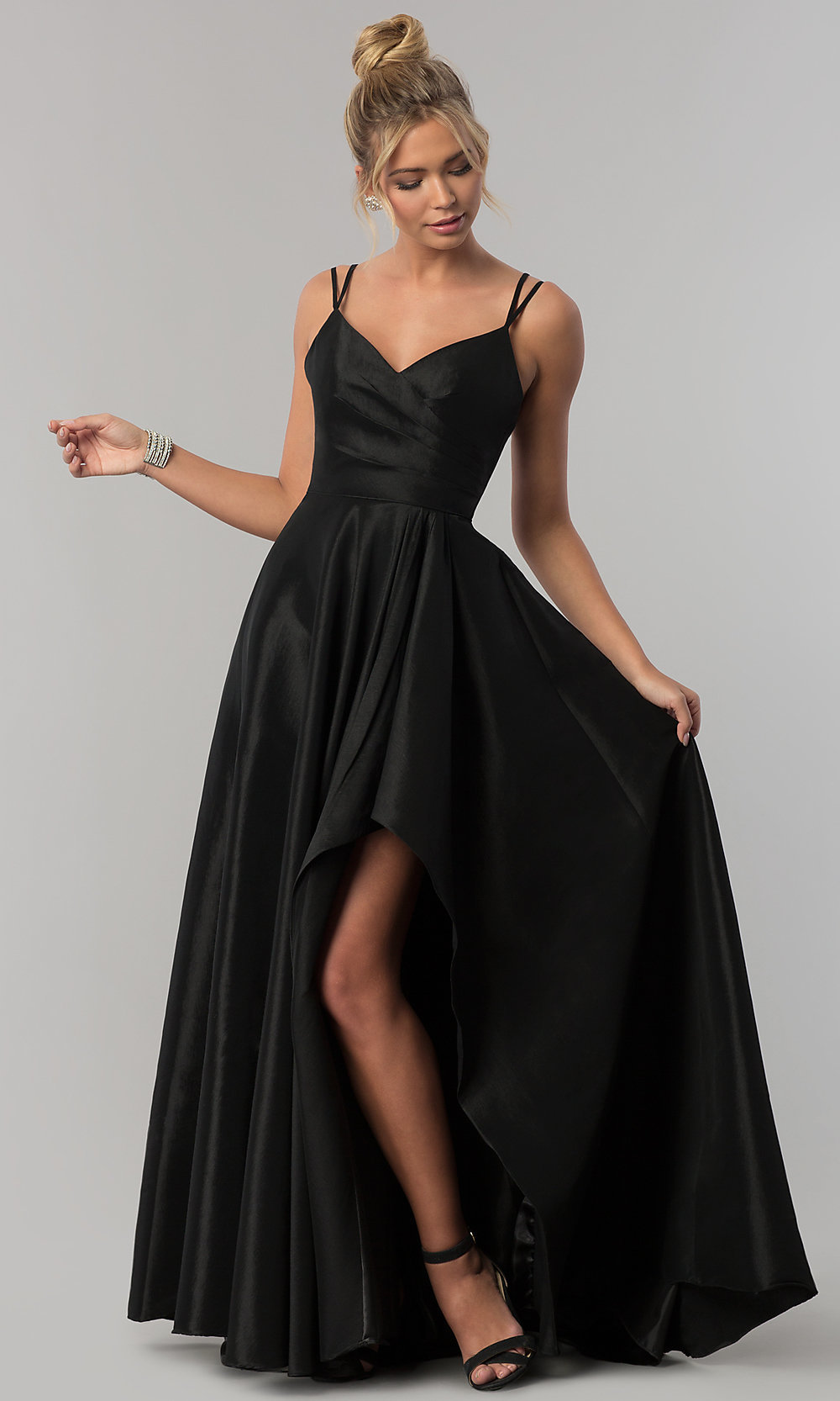 Stretch taffeta long high low prom dress promgirl hover to zoom ombrellifo Gallery