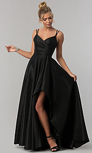 Image of long Alyce high-low taffeta prom dress with slit. Style: AL-60094 Detail Image 2