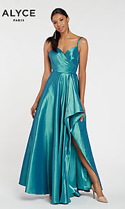 Image of long Alyce high-low taffeta prom dress with slit. Style: AL-60094 Detail Image 4