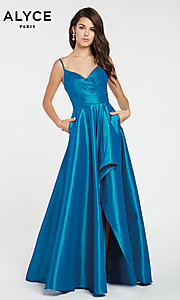 Image of long Alyce high-low taffeta prom dress with slit. Style: AL-60094 Detail Image 5