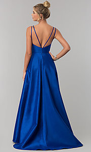 Image of long Alyce high-low taffeta prom dress with slit. Style: AL-60094 Back Image