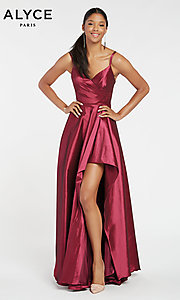 Image of long Alyce high-low taffeta prom dress with slit. Style: AL-60094 Detail Image 3