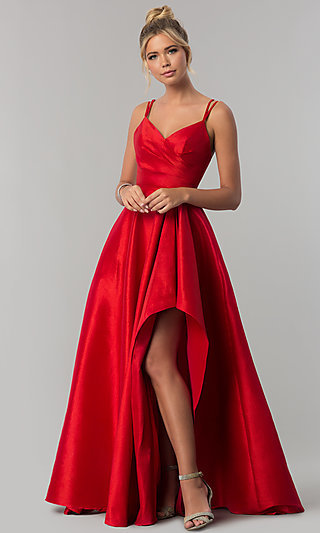 Stretch-Taffeta Long High-Low Prom Dress - PromGirl