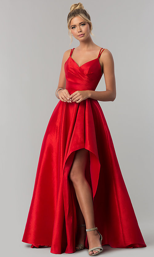 Image of long Alyce high-low taffeta prom dress with slit. Style: AL-60094 Front Image