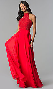 Image of long open-back racer-front formal dress by Alyce. Style: AL-60160 Detail Image 2