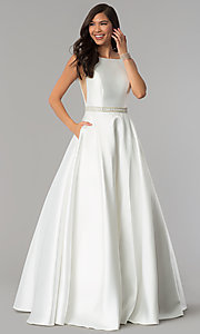 Image of long bateau-neck open-v-back prom dress. Style: AL-60113 Detail Image 3