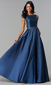 Image of long bateau-neck open-v-back prom dress. Style: AL-60113 Front Image