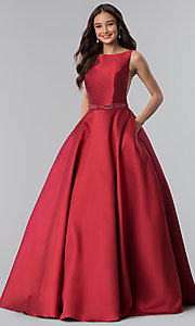 Image of long bateau-neck open-v-back prom dress. Style: AL-60113 Detail Image 1