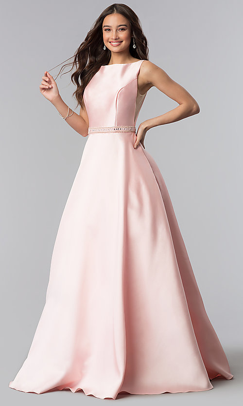 Image of long bateau-neck open-v-back prom dress. Style: AL-60113 Detail Image 2