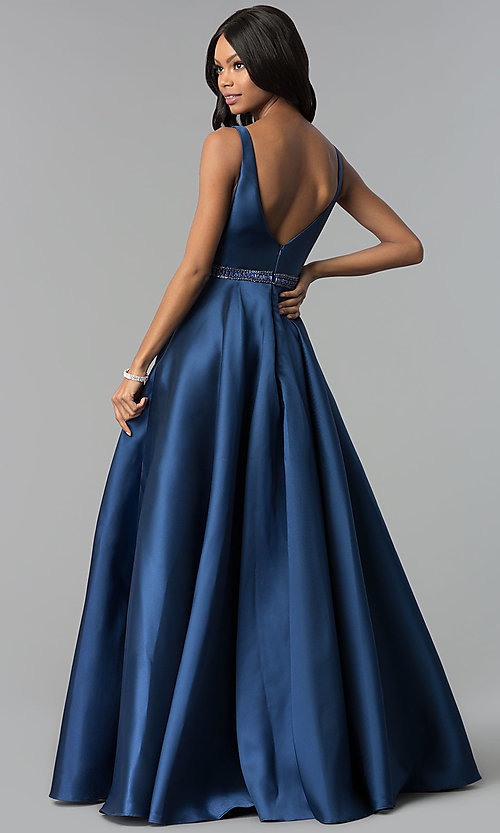 Image of long bateau-neck open-v-back prom dress. Style: AL-60113 Back Image