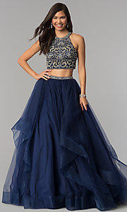 Two-Piece Open-Back Prom Dress with Beaded Top