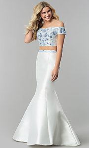 Long White Embroidered Two-Piece Prom Dress