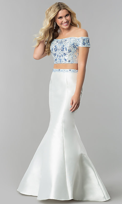 Image of long diamond white embroidered two-piece prom dress. Style: AL-60179 Front Image