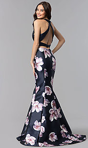 Image of long two-piece navy blue print mermaid prom dress. Style: AL-60178-A Back Image