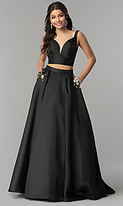 A-Line Long Two-Piece V-Neck Prom Dress by Alyce