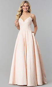Image of long open-back coral pink prom dress with pockets. Style: AL-60122 Front Image