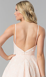 Image of long open-back coral pink prom dress with pockets. Style: AL-60122 Detail Image 2