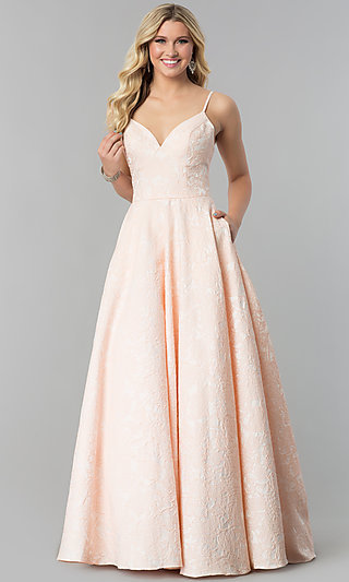 Long Open-Back Textured Prom Dress with Pockets