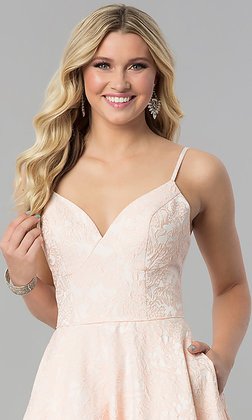 Image of long open-back coral pink prom dress with pockets. Style: AL-60122 Detail Image 1