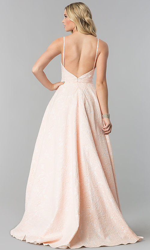 Image of long open-back coral pink prom dress with pockets. Style: AL-60122 Back Image