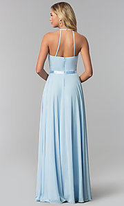 Image of a-line high-neck chiffon formal long prom dress. Style: DQ-2176 Back Image