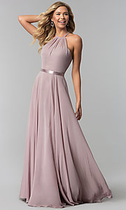 Image of a-line high-neck chiffon formal long prom dress. Style: DQ-2176 Front Image