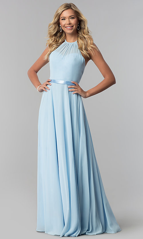 Image of a-line high-neck chiffon formal long prom dress. Style: DQ-2176 Detail Image 1