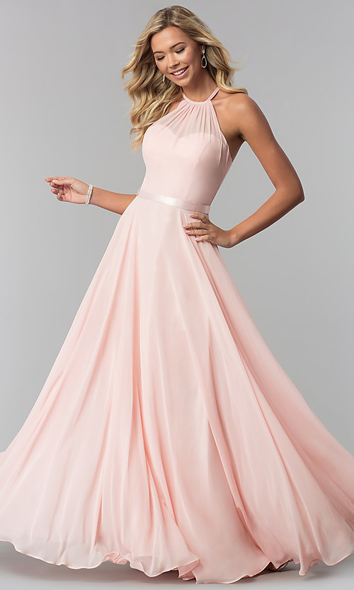 Image of a-line high-neck chiffon formal long prom dress. Style: DQ-2176 Detail Image 3